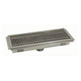Floor Trough, 54L x 12W x 4H, Fiberglass Grate Single Drain