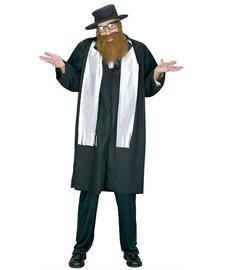 FunWorld Men's Adult Rabbi Costume, Black, One Size