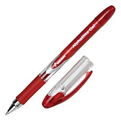 Alpha Elite Non-Retractable Gel Pens, Medium Point, Clear Barrel, Red Ink, Pack of 12