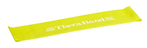 (TheraBand Resistance Band Loop, Professional Latex Mini Band for Lower Pilates, Crossfit, Yoga, Stretching, Physical Therapy, Strength Training without Weights, 12 Inch, Yellow, Thin, Beginner Level 1 )