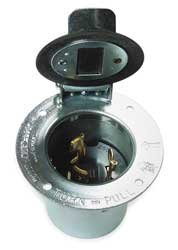 Hubbell HBL3768 Locking Flanged Inlet, 50 amp, 250VDC/600VAC, 3 Pole, 4 Wire by Hubbell