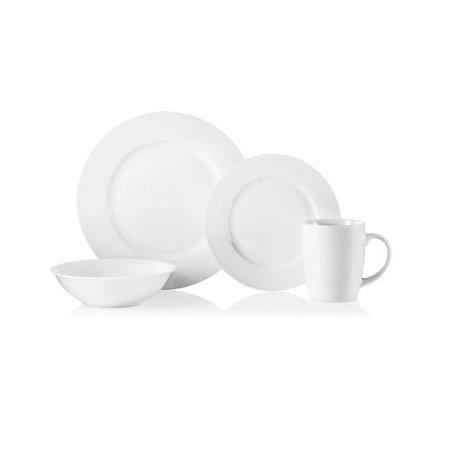 32 Piece Natural White Porcelain Dinnerware Set, Service of