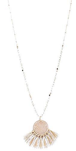 Filigree Tassel - Cream and Gold Filigree Fan Tassel Long Necklace, 33