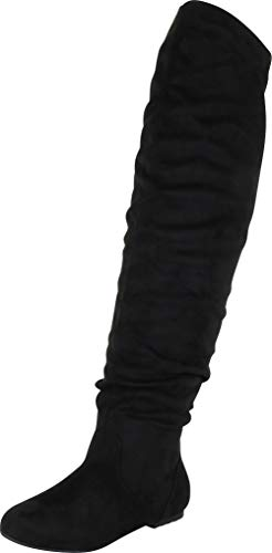 Nature Breeze Women's Stretchy Thigh High Boot Black 8