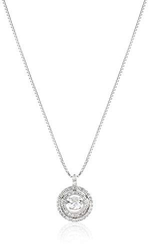 SERAFINA ❤ Women's Double Halo White Sapphire Pendant Necklace | 925 Sterling Silver | Dancing White Sapphire on 18
