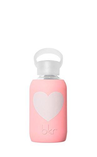 bkr - BEST Original Glass Water Bottle - Premium Quality - Soft Silicone Protective Sleeve - BPA Free - Dishwasher Safe (8oz/ 250ml)-Elle Heart - Opaque Pastel Neon Coral