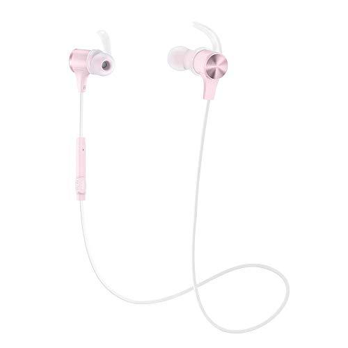 Bluetooth Headphones TaoTronics SoundElite 71 Wireless Headphones aptX-HD HiFi Audio 20H Playtime Bluetooth 5.0 IPX6 Magnetic Sports Earphones for Workout Running Gym Built-in Mic (Pink)