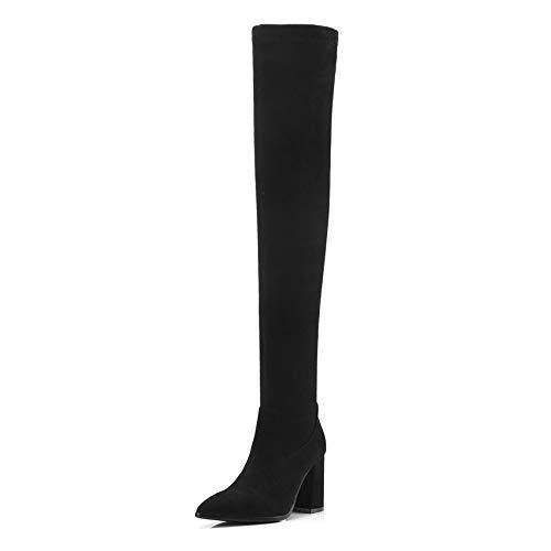 2019 De Estrecha Mujer Moda Cuadrado La 34 Alto Heel Hoesczs Altas Sobre Black Botas 42 Punta Invierno Tamaño Tacón Rodilla Mujeres dSnwpOxB