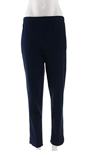 Bob Mackie Clothes - Bob Mackie Stretch Pull-On Ankle Pants Curved Hem Navy L New A302150