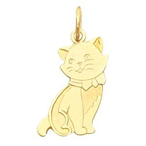 Chat-Or jaune 14 carats 45 x 24 JewelryWeb