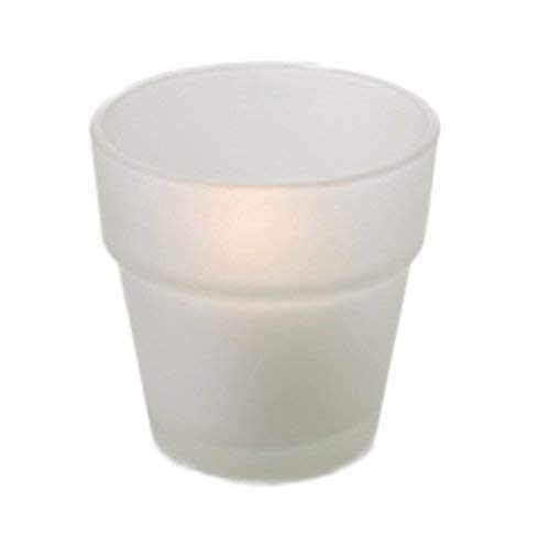 Quality Glass Flower Pot Votive Holders (Set of 12) Perfect for Weddings, Restaurants, spas, Events (Frosted) ()