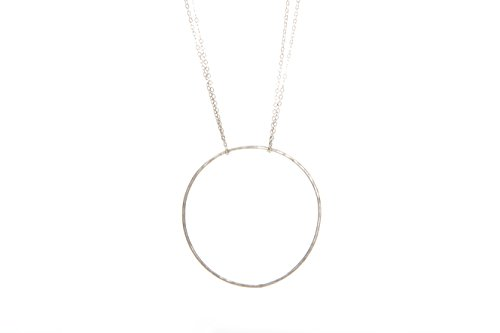 Laura Elizabeth Minimalist Open Circle Necklace - Dawn Handmade Jewelry for Women - Great as Gifts for Mom or Girls - Sterling Silver Plated Pendant and Chain ()