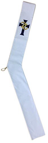 White Wedding Deacon Clergy Stole in Gold Embroidery with Blue Velvet Cross Trinity Church Supply