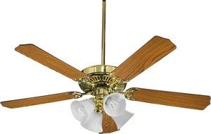 Quorum International 77525-8102 Capri V 52-Inch 4 Light CFL Ceiling Fan, Polished Brass Finish with Faux Alabaster Glass Shades and Reversible Blades