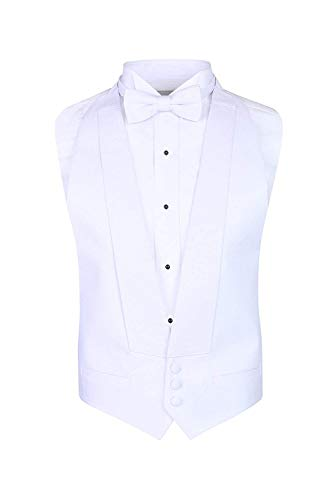 S.H. Churchill & Co. White Pique Vest & Pre Tied Bow Tie - (FITALL, Whit) ()