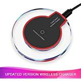 Wireless Charger, Wireless Charging Certified Ultra-Slim Updated Version Fast Charging Compatible iPhone X, iPhone 8/8 Plus, Samsung Galaxy and Android Smartphones