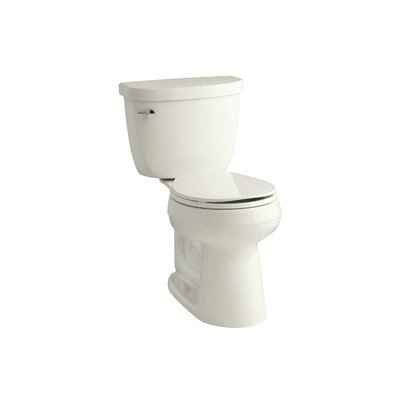 (Cimarron Comfort Height Two-Piece Round-Front 1.28 GPF Toilet with AquaPiston Flush Technology and Left-Hand Trip Lever, Biscuit)