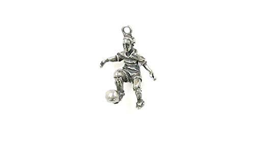 - Pendant Jewelry Making/Chain Pendant/Bracelet Pendant Sterling Silver 3-D Boy Soccer Player Charm