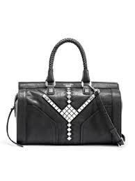 GUESS Marysa Studded Box Satchel, BLACK, Bags Central