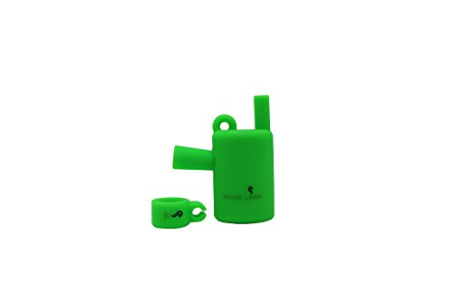 Skunk Labs Compact Platinum Cured Silicone Necklace Cigarette Holder Filter w/Matching Hands Free Ring (Skunk Green)