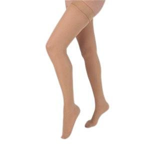Health Support Vascular Hosiery 20-30 mmHg, Full Length Thigh, Closed Toe, Sheer, Beige, Regular Size D (Pair of 1)