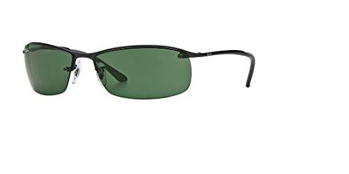 Ray-Ban Mens Sunglasses (RB3183) Black Matte/Green Metal - Non-Polarized - 63mm (Billig Ray Ban Sonnenbrillen Online)