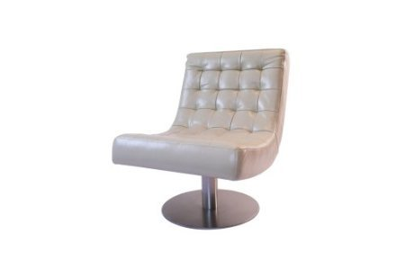 New Yorker Funky Retro Real Cream Leather Swivel Chair Barcelona Style  LIMITED SALE OFFER Was £