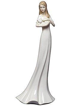 Figurines Porcelain Woman - 8.75 Inch White Porcelain Figurine Woman holding and stroking a cat