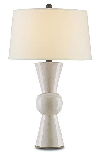 Currey and Company 6198 Upbeat - One Light Table Lamp, Antique White Finish with Off White Linen ()