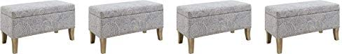 Linon Stephanie Ottoman, Stone Upholstered Storage Bench, Rustic Gray Pack of 4
