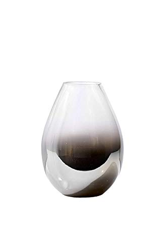 Serene Spaces Living Nickel and Chrome Glass Vase - Clear and Black Ombre Vase, Use for Home Décor, Event Centerpieces and More, 5.5