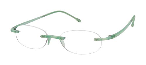 Oval Gel - Gels - Lightweight Rimless Fashion Readers - The Original Reading Glasses for Men and Women - Frosted Fern (+3.00Magnification Power)