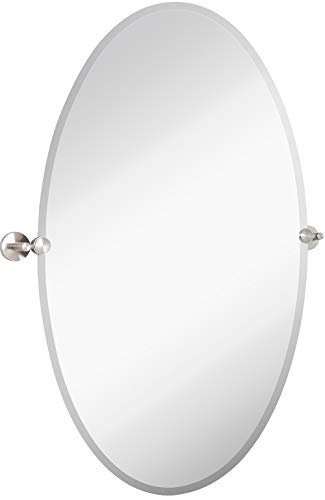Hamilton Hills Large Pivot Oval Mirror with Brushed Chrome Wall Anchors | - Bathroom Wall Tilt Oval Mirrors