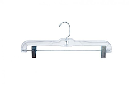 "NAHANCO 600RC Heavy Weight Skirt/Slack Hanger with Metal Clips, 14"", Clear (Pack of 100)"