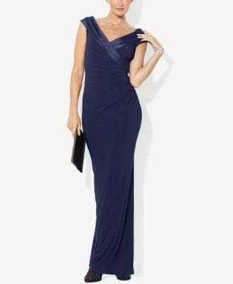 Lauren Ralph Lauren Women's Satin-Trim Ruched Jersey Gown Dress-LN-6