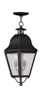 Livex Lighting 2546-04 Amwell - Two Light Outdoor Hanging Lantern, Black Finish with Seeded Glass