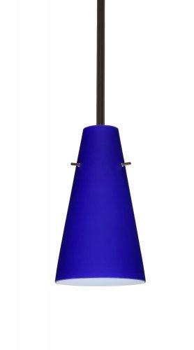 (Besa Lighting 1TT-4124CM-BR Cierro Pendant with Cobalt Blue Matte Glass, Bronze)