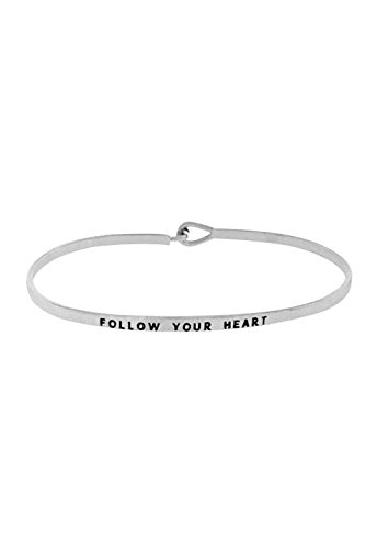 Rosemarie Collections Women's Inspirational Thin Hook Bangle Bracelet Follow Your Heart (Silver Tone) - Heart Hook Bracelet