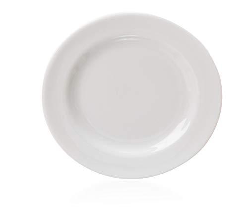 Prato De Sobremesa Americana De Porcelana Branco Etna Branco