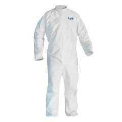 Kimberly-Clark 41485 Professional Large White KLEENGUARD A45 Disposable Breathable Liquid And Particle Protection Coveralls With Front Zipper Closure, Open Wrists And Ankles, Respirator Fit Hood, Zipper Flap And Elastic Back (25/EA)