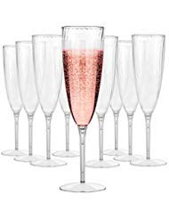 Plastic Champagne Flutes Disposable - Plastic Wine Glasses Set for Wedding - 6 oz Disposable Champagne Flutes - Plastic Champagne Glasses - Plastic Stemware - Mimosa Glasses - BPA Free Cups Set of 16 ()