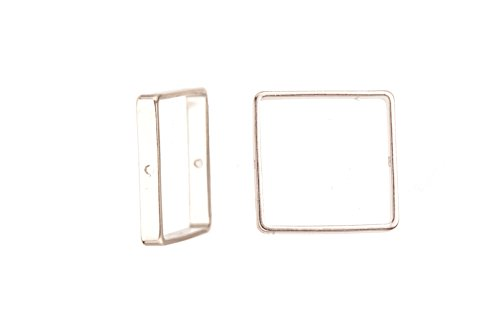 10pcs Bead Frame, Silver-Plated Brass Square Frame 20x20mm, fits Up To 18mm Square Beads