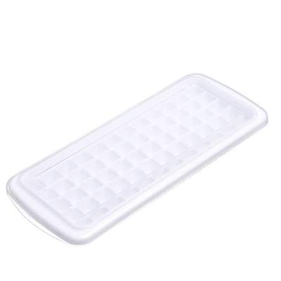 Sonita3008 Ice Tray with Lid Ice Cube Tray Plastic Reusable Ice Cubes Mold Square Shape 60-Ice DIY Fruit Ice Cream Maker with Removable Lid