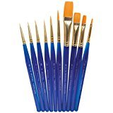 Royal Brush Light-Weight Golden Taklon Hair Acrylic Handle Ultra Short Brush Set, Assorted Size, Translucent Blue, Set of 10 (Flat Shader Golden Taklon Brush)