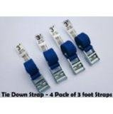 "Tie Down and Cargo Straps –""4 Pack"" of 3 foot Straps"
