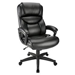 - Realspace Fennington Leather High-Back Chair, Black