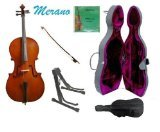 Merano MC150SST 4/4 Size Cello Hard Case with Bag, Bow and 2 Sets of Strings, Black