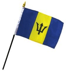 """4x6 inch Barbados Table Desk flag mounted on a 10 inch Black Plastic stick staff (Super Polyester) cloth Fabric (Sewn Edges for Durability) 4""""x6"""" 4inch x 6inch"""