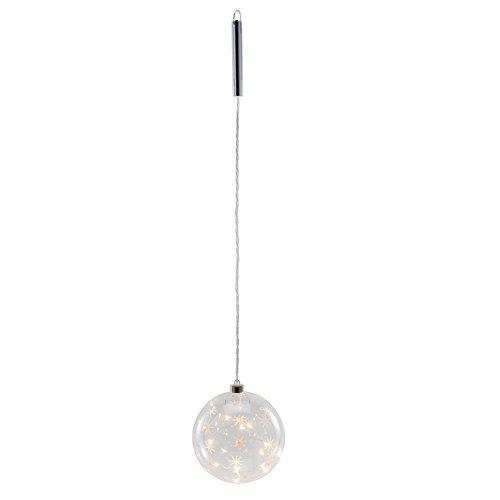 LED Glaskugel ARIANA - klar - Dekohänger - Weihnachtskugel - beleuchtet - mit Sternen (12 cm)