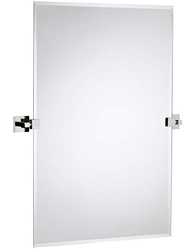 Hamilton Hills Large Squared Modern Pivot Rectangle Mirror with Polished Chrome Wall -